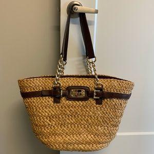 Michael Kors Straw Large Chain Tote Handbag